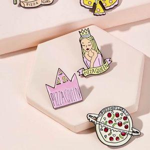 New 5 Piece Pizza Theme Brooch Set